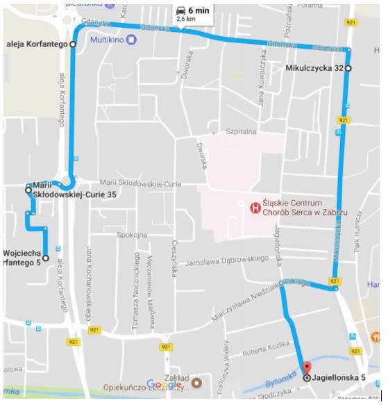 mapa - trasa przejazdu